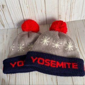 His & Her vintage Yosemite knit Pom Pom ski hat